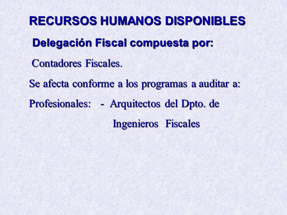 RECURSOS HUMANOS DISPONIBLES Delegación Fiscal compuesta por: Contadores Fiscales. Se afecta conforme a los programas a auditar a: Profesionales: - Ar