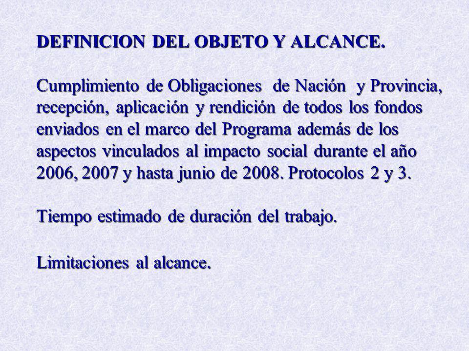 DEFINICION DEL OBJETO Y ALCANCE. Cumplimiento de Obligaciones de Nación y Provincia, recepción, aplicación y rendición de todos los fondos enviados en