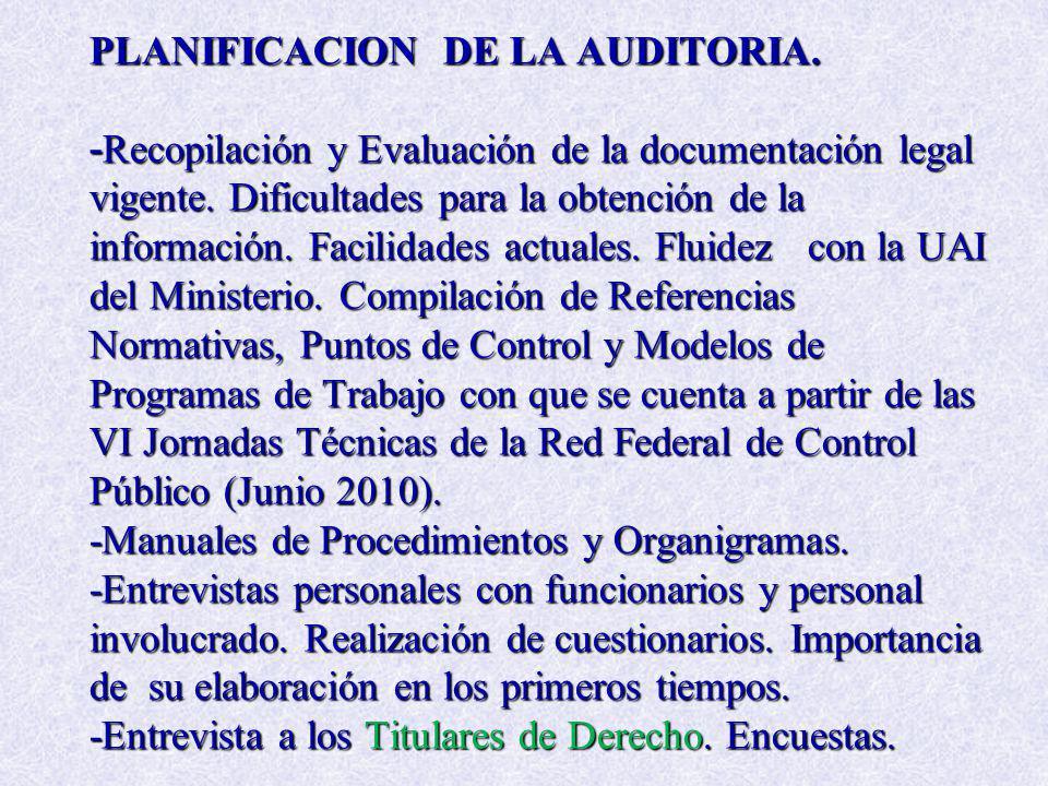 PLANIFICACION DE LA AUDITORIA. - Recopilación y Evaluación de la documentación legal vigente. Dificultades para la obtención de la información. Facili
