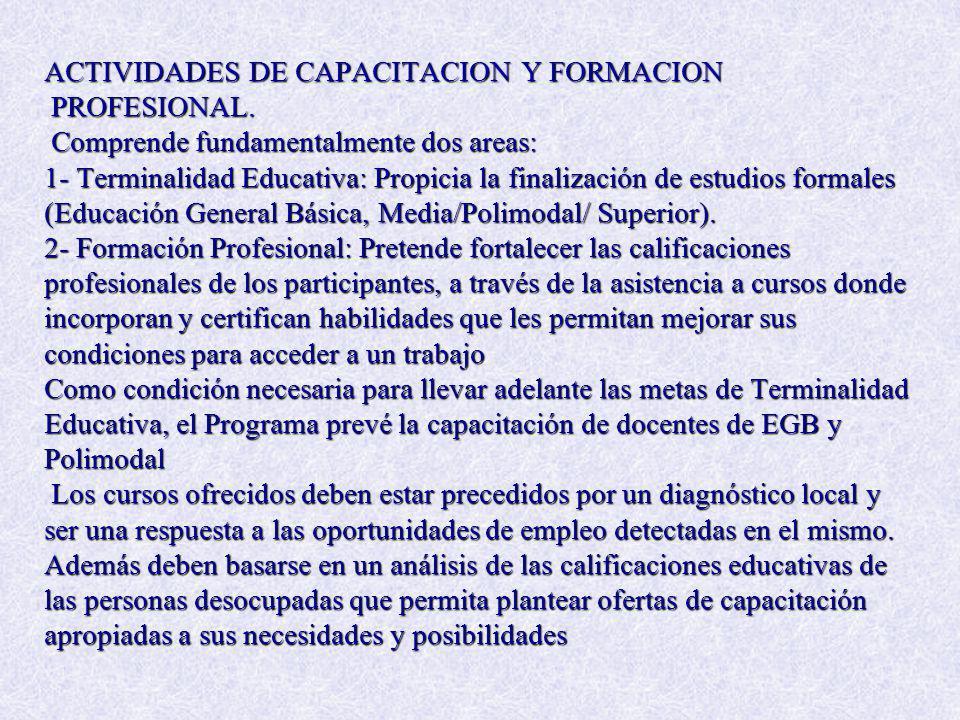 ACTIVIDADES DE CAPACITACION Y FORMACION PROFESIONAL. Comprende fundamentalmente dos areas: 1- Terminalidad Educativa: Propicia la finalización de estu