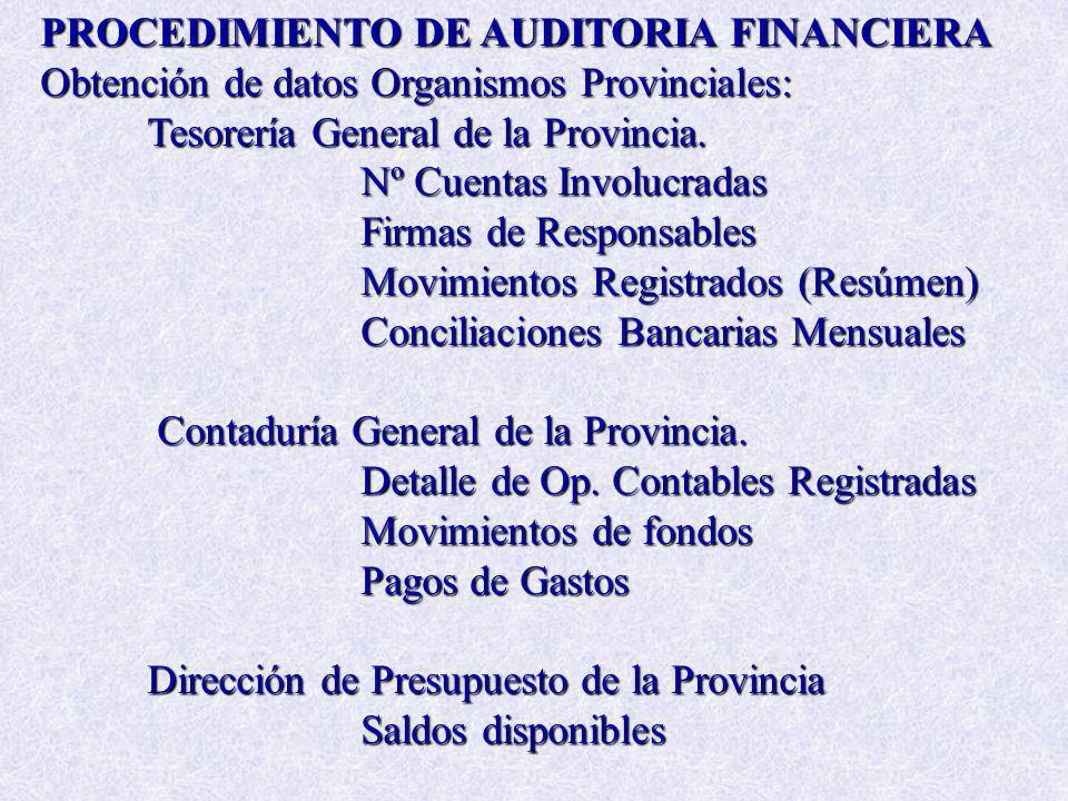 PROCEDIMIENTO DE AUDITORIA FINANCIERA Obtención de datos Organismos Provinciales: Tesorería General de la Provincia. Nº Cuentas Involucradas Firmas de