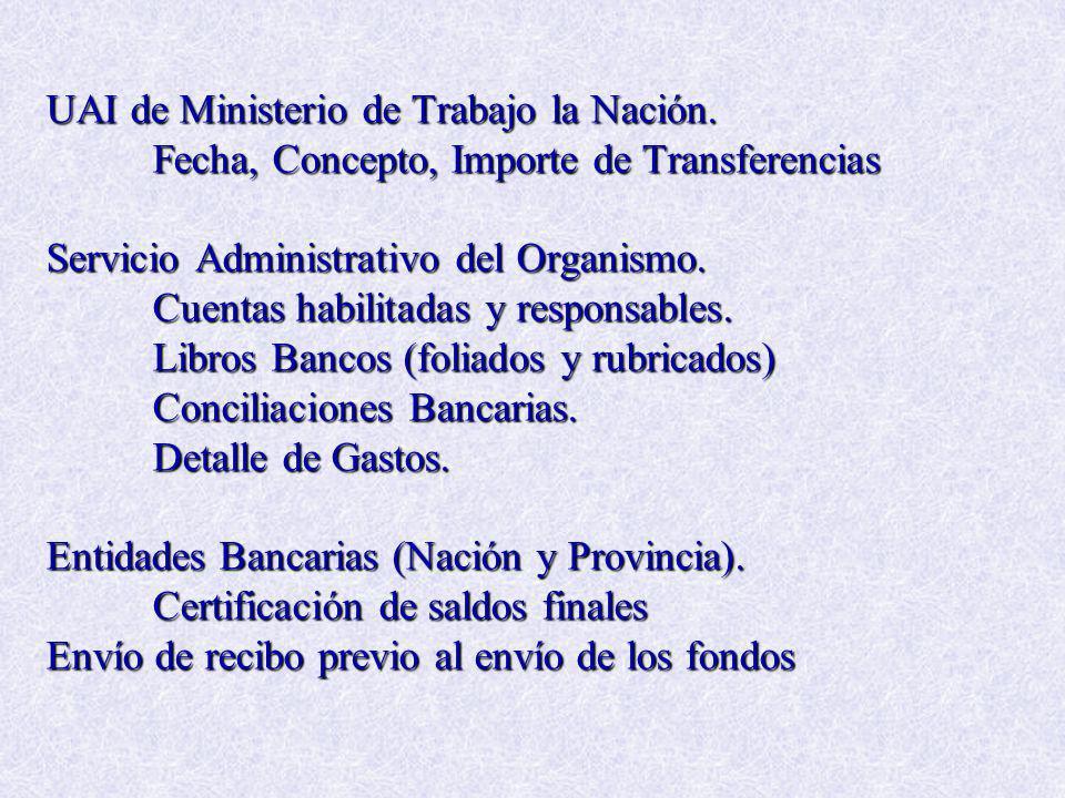 UAI de Ministerio de Trabajo la Nación. Fecha, Concepto, Importe de Transferencias Servicio Administrativo del Organismo. Cuentas habilitadas y respon