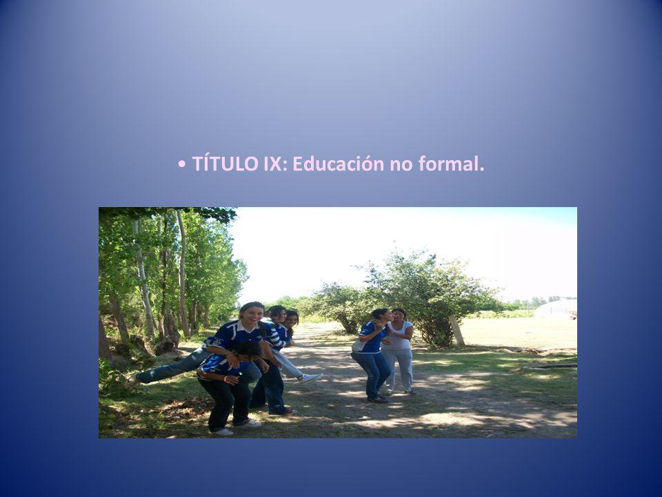 TÍTULO IX: Educación no formal.