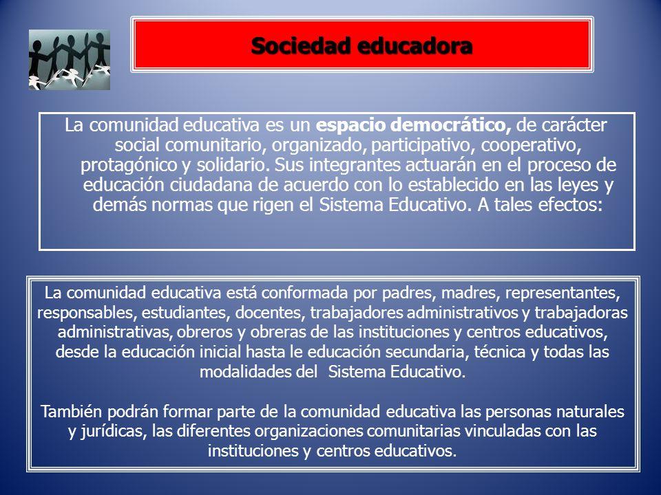 Sociedad educadora La comunidad educativa es un espacio democrático, de carácter social comunitario, organizado, participativo, cooperativo, protagóni