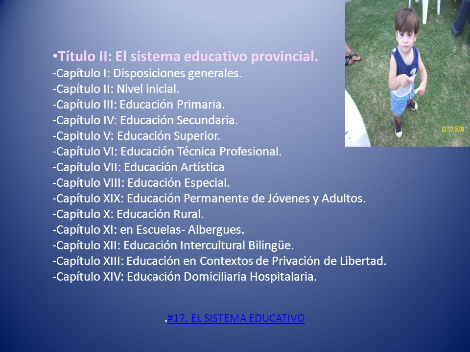 Título II: El sistema educativo provincial. -Capítulo I: Disposiciones generales. -Capítulo II: Nivel inicial. -Capítulo III: Educación Primaria. -Cap