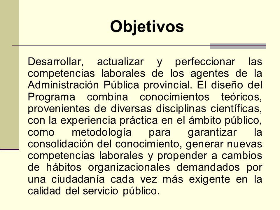 Objetivos Desarrollar, actualizar y perfeccionar las competencias laborales de los agentes de la Administración Pública provincial.