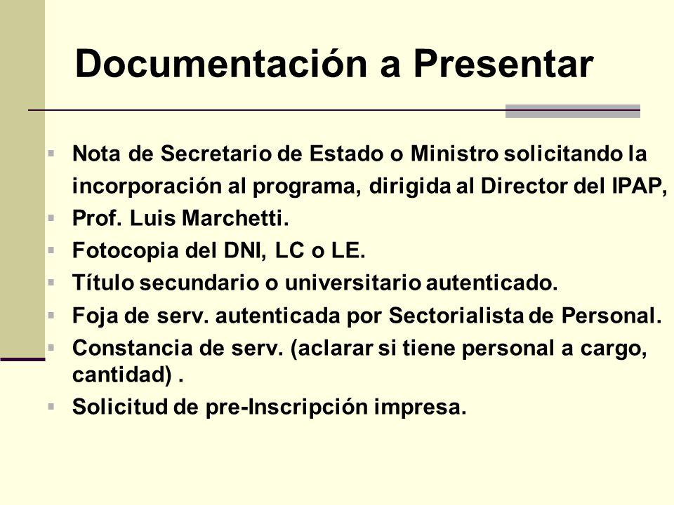 Documentación a Presentar Nota de Secretario de Estado o Ministro solicitando la incorporación al programa, dirigida al Director del IPAP, Prof.