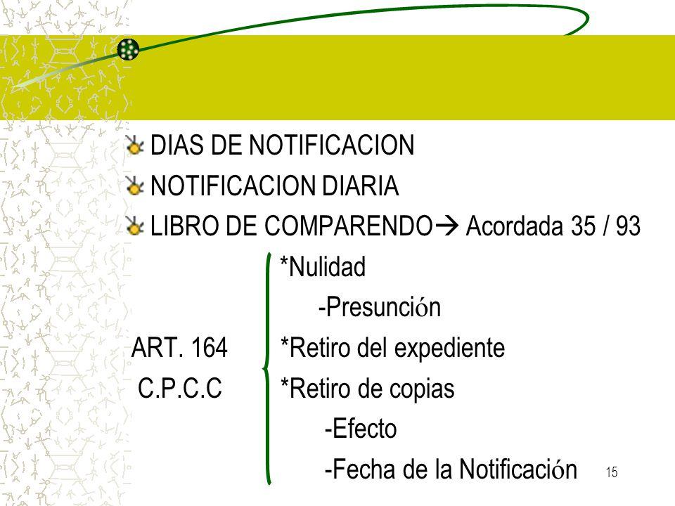 15 DIAS DE NOTIFICACION NOTIFICACION DIARIA LIBRO DE COMPARENDO Acordada 35 / 93 *Nulidad -Presunci ó n ART. 164 *Retiro del expediente C.P.C.C *Retir