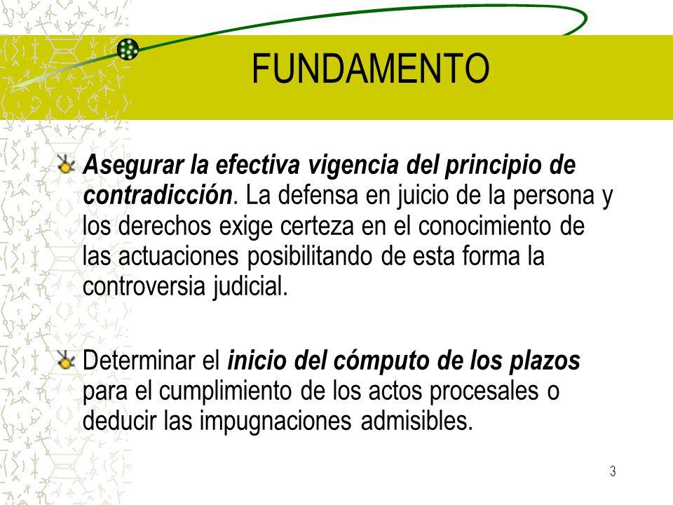 3 FUNDAMENTO Asegurar la efectiva vigencia del principio de contradicción. La defensa en juicio de la persona y los derechos exige certeza en el conoc