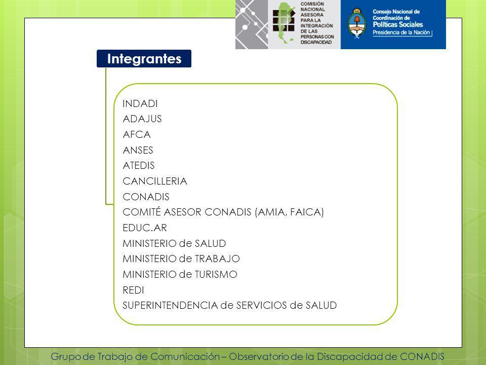 Grupo de Trabajo de Comunicación – Observatorio de la Discapacidad de CONADIS Integrantes INDADI ADAJUS AFCA ANSES ATEDIS CANCILLERIA CONADIS COMITÉ ASESOR CONADIS (AMIA, FAICA) EDUC.AR MINISTERIO de SALUD MINISTERIO de TRABAJO MINISTERIO de TURISMO REDI SUPERINTENDENCIA de SERVICIOS de SALUD