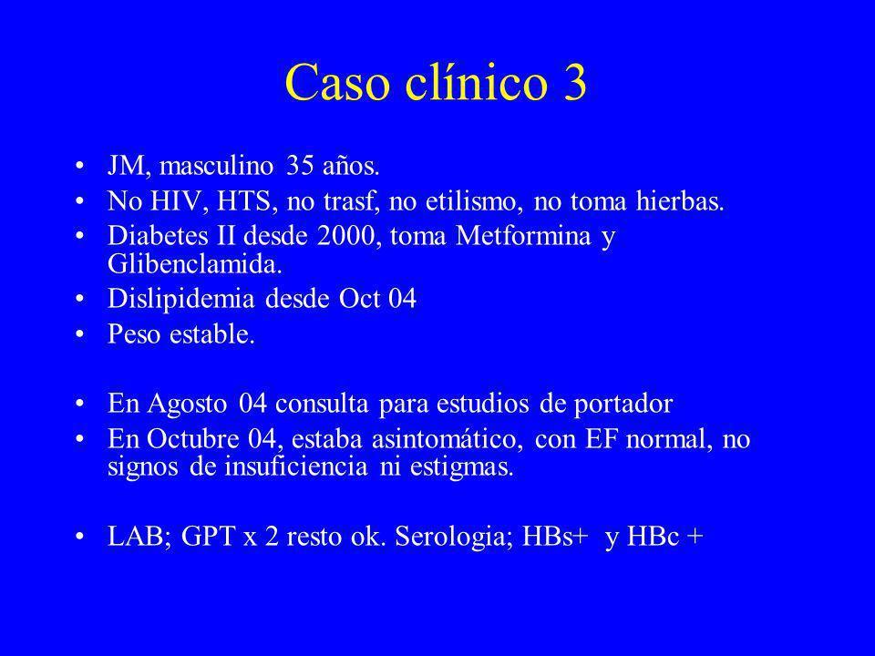 Caso clínico 3 JM, masculino 35 años. No HIV, HTS, no trasf, no etilismo, no toma hierbas. Diabetes II desde 2000, toma Metformina y Glibenclamida. Di