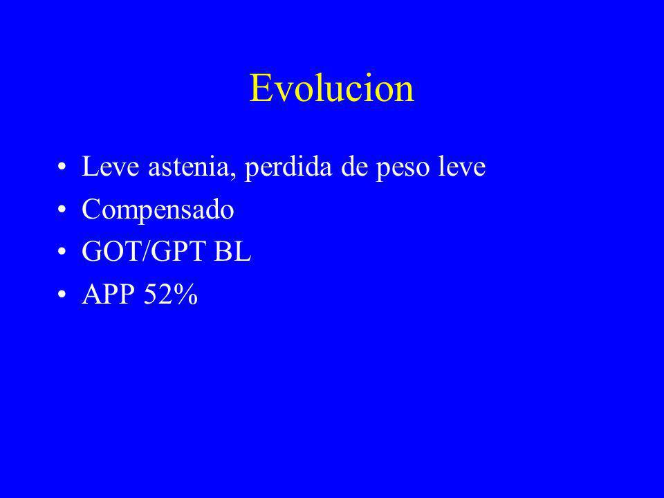 Evolucion Leve astenia, perdida de peso leve Compensado GOT/GPT BL APP 52%