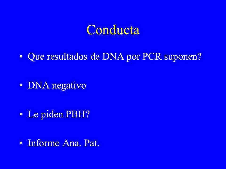 Conducta Que resultados de DNA por PCR suponen? DNA negativo Le piden PBH? Informe Ana. Pat.