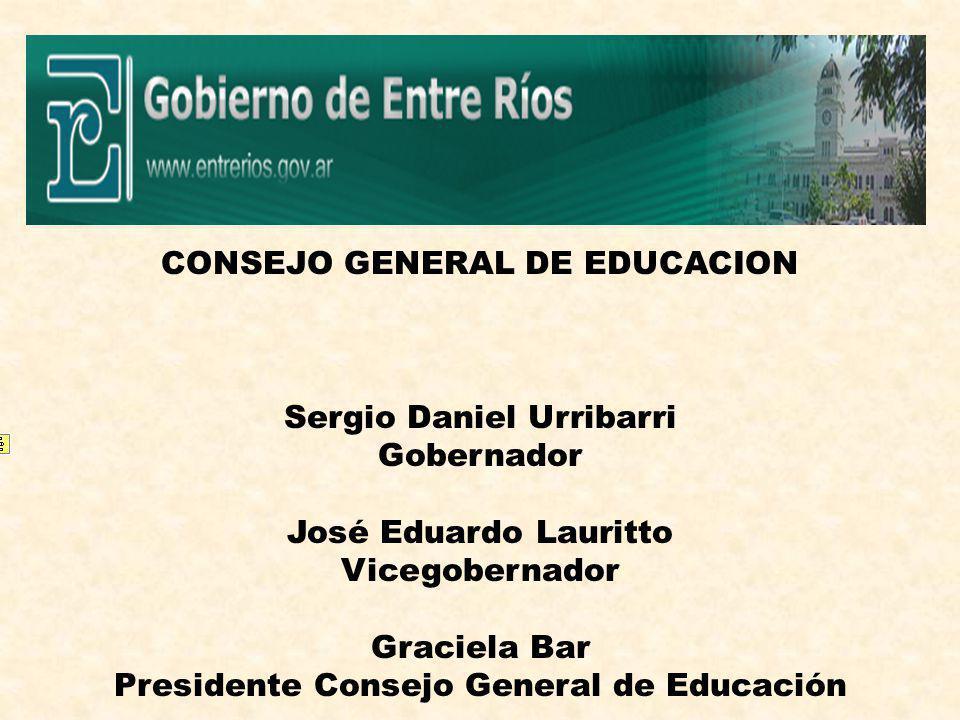 CONSEJO GENERAL DE EDUCACION Sergio Daniel Urribarri Gobernador José Eduardo Lauritto Vicegobernador Graciela Bar Presidente Consejo General de Educación