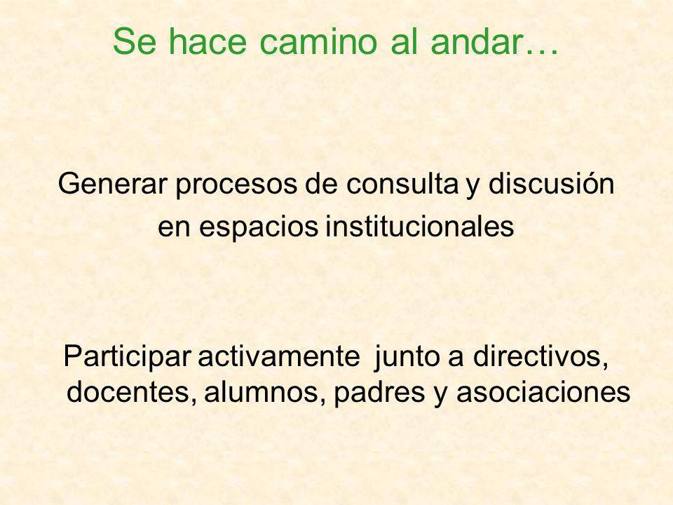 Se hace camino al andar… Generar procesos de consulta y discusión en espacios institucionales Participar activamente junto a directivos, docentes, alumnos, padres y asociaciones