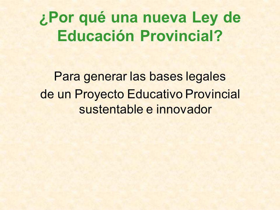 ¿Por qué una nueva Ley de Educación Provincial.