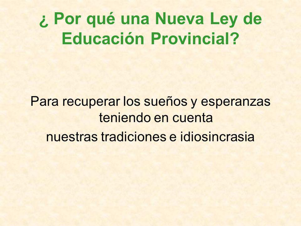 ¿ Por qué una Nueva Ley de Educación Provincial.