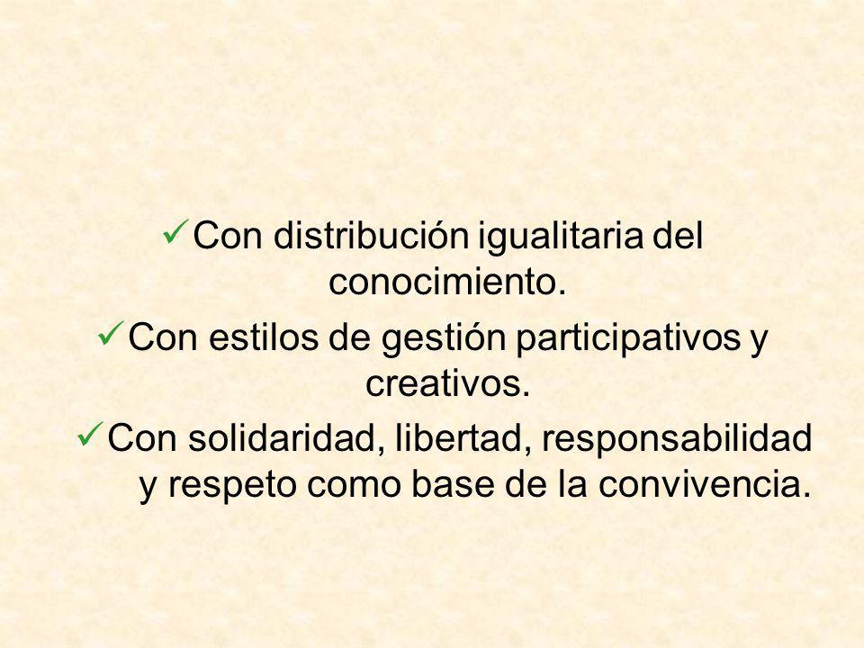 Con distribución igualitaria del conocimiento. Con estilos de gestión participativos y creativos.