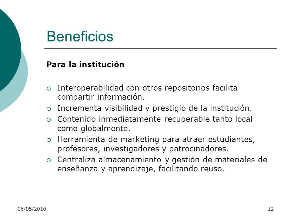 06/05/201012 Beneficios Para la institución Interoperabilidad con otros repositorios facilita compartir información. Incrementa visibilidad y prestigi