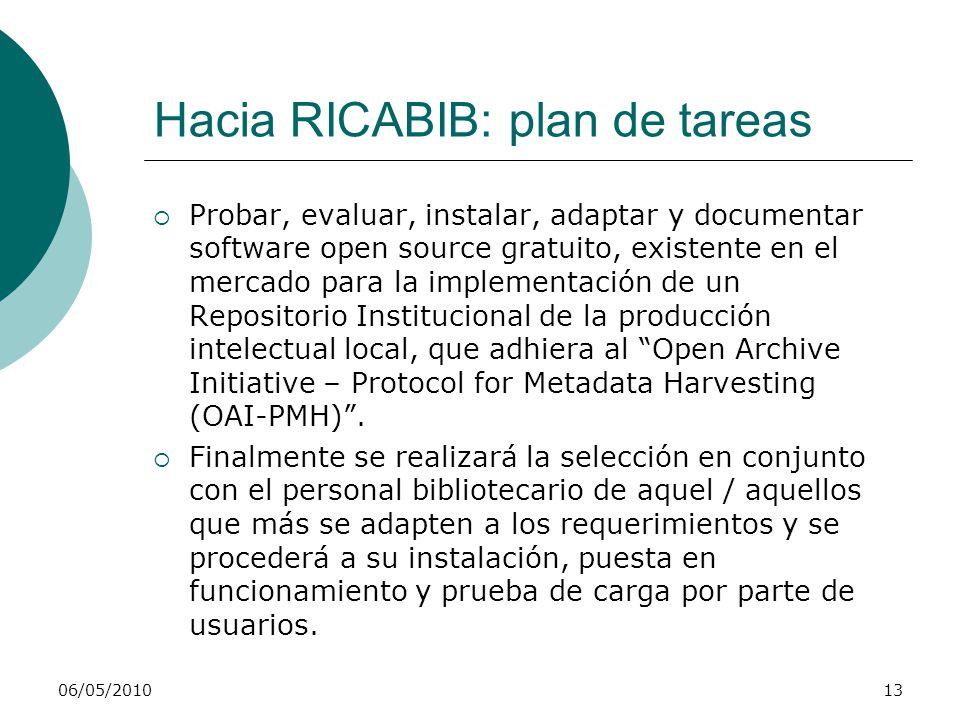 06/05/201013 Hacia RICABIB: plan de tareas Probar, evaluar, instalar, adaptar y documentar software open source gratuito, existente en el mercado para la implementación de un Repositorio Institucional de la producción intelectual local, que adhiera al Open Archive Initiative – Protocol for Metadata Harvesting (OAI-PMH).