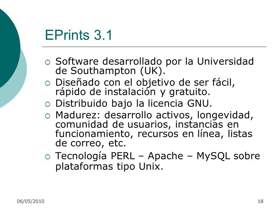06/05/201018 EPrints 3.1 Software desarrollado por la Universidad de Southampton (UK). Diseñado con el objetivo de ser fácil, rápido de instalación y