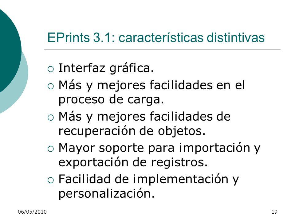 06/05/201019 EPrints 3.1: características distintivas Interfaz gráfica. Más y mejores facilidades en el proceso de carga. Más y mejores facilidades de