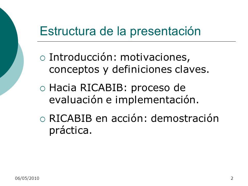 Estructura de la presentación Introducción: motivaciones, conceptos y definiciones claves. Hacia RICABIB: proceso de evaluación e implementación. RICA