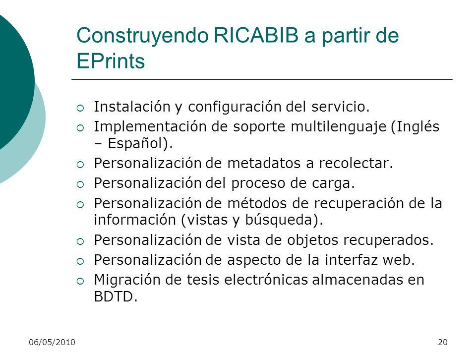 06/05/201020 Construyendo RICABIB a partir de EPrints Instalación y configuración del servicio. Implementación de soporte multilenguaje (Inglés – Espa