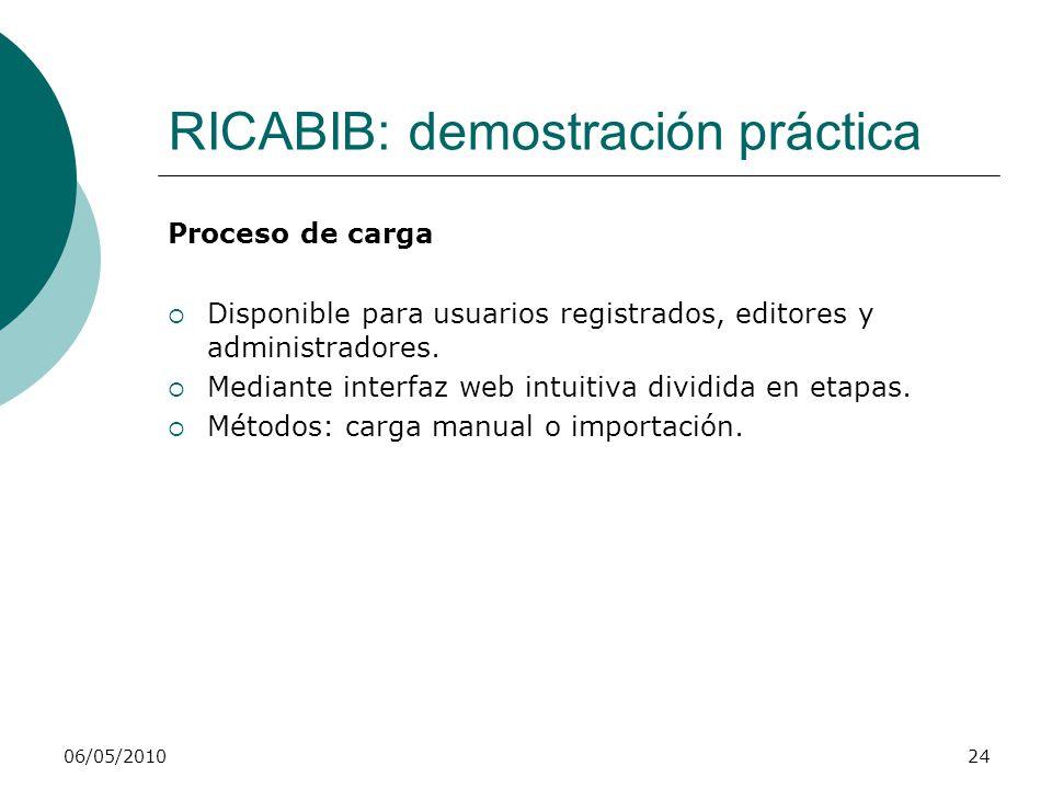 RICABIB: demostración práctica Proceso de carga Disponible para usuarios registrados, editores y administradores. Mediante interfaz web intuitiva divi