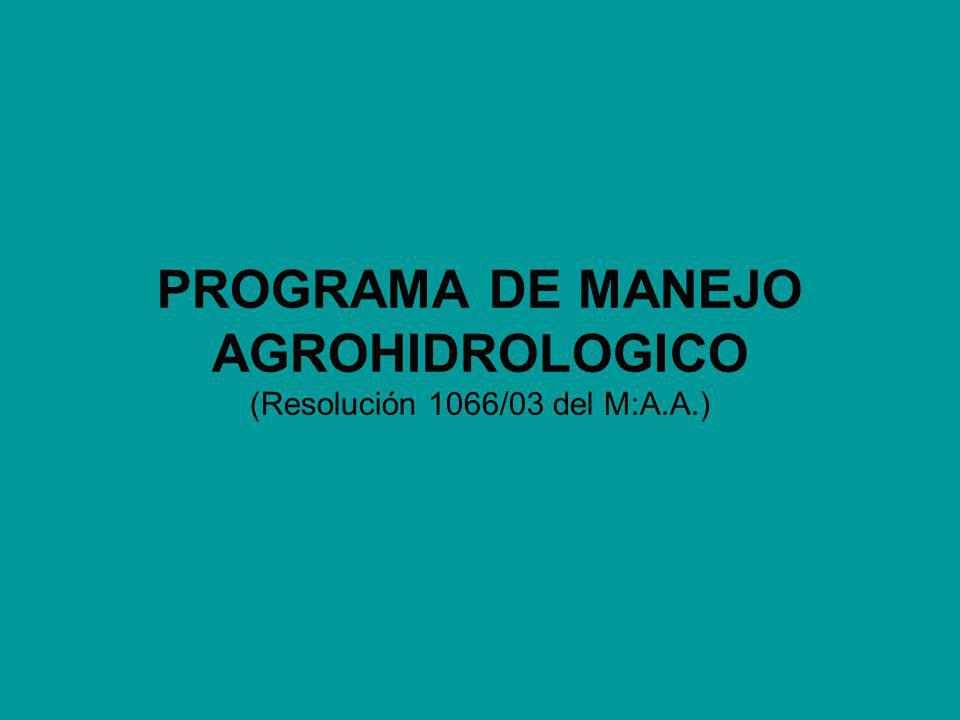 PROGRAMA DE MANEJO AGROHIDROLOGICO (Resolución 1066/03 del M:A.A.)