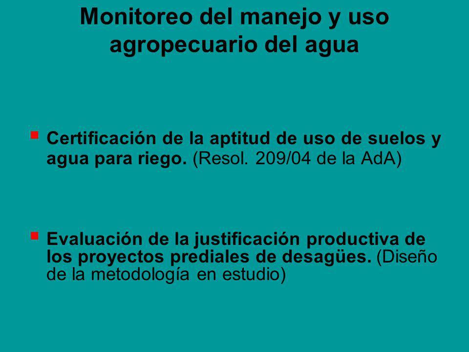 Monitoreo del manejo y uso agropecuario del agua Certificación de la aptitud de uso de suelos y agua para riego.