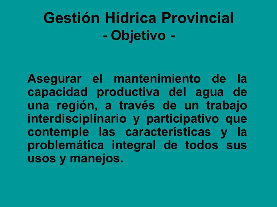 Gestión Hídrica Provincial - Objetivo - Asegurar el mantenimiento de la capacidad productiva del agua de una región, a través de un trabajo interdisciplinario y participativo que contemple las características y la problemática integral de todos sus usos y manejos.