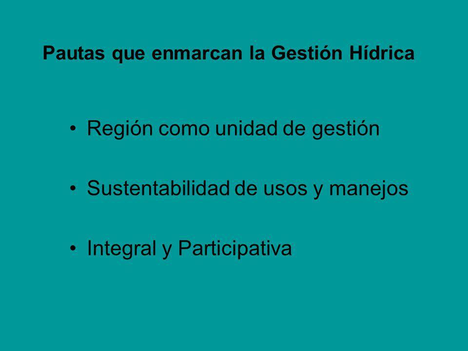 Pautas que enmarcan la Gestión Hídrica Región como unidad de gestión Sustentabilidad de usos y manejos Integral y Participativa
