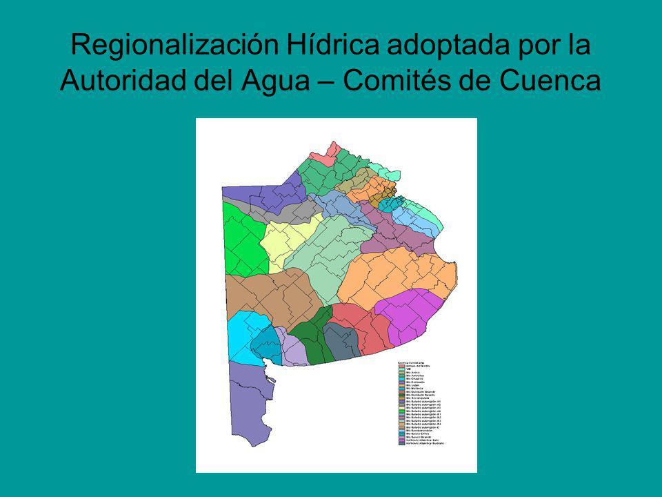 Regionalización Hídrica adoptada por la Autoridad del Agua – Comités de Cuenca
