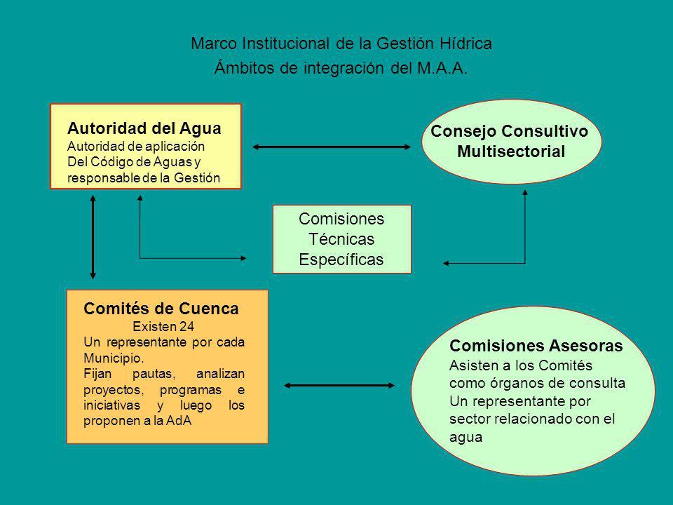 Marco Institucional de la Gestión Hídrica Ámbitos de integración del M.A.A.