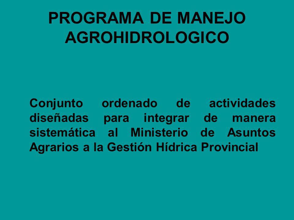 PROGRAMA DE MANEJO AGROHIDROLOGICO Conjunto ordenado de actividades diseñadas para integrar de manera sistemática al Ministerio de Asuntos Agrarios a la Gestión Hídrica Provincial