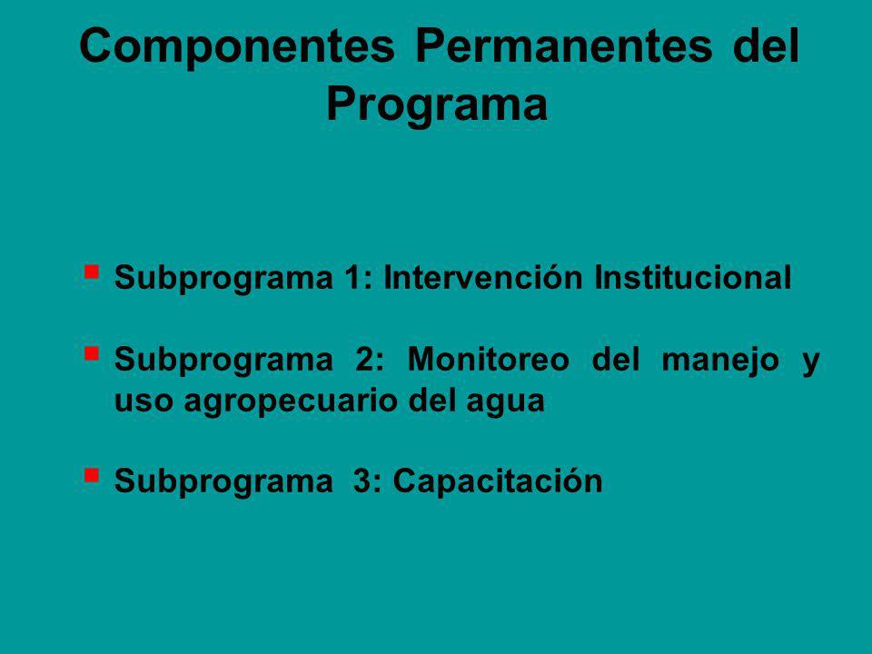 Componentes Permanentes del Programa Subprograma 1: Intervención Institucional Subprograma 2: Monitoreo del manejo y uso agropecuario del agua Subprograma 3: Capacitación