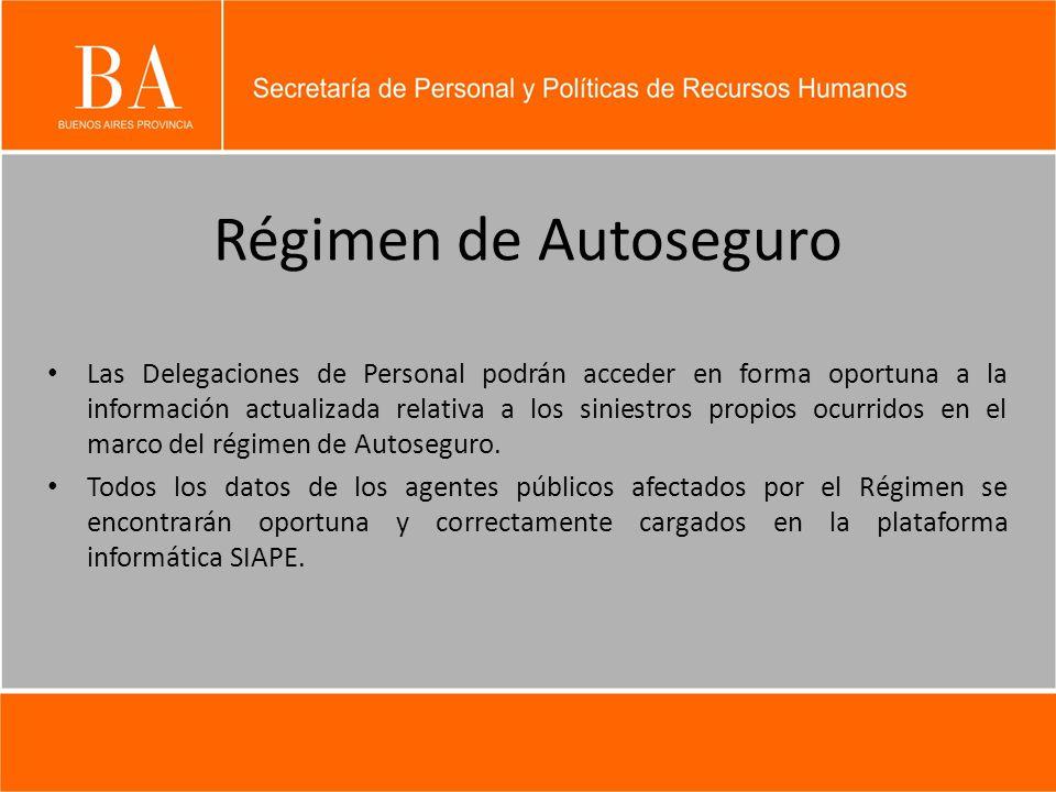 Régimen de Autoseguro Las Delegaciones de Personal podrán acceder en forma oportuna a la información actualizada relativa a los siniestros propios ocurridos en el marco del régimen de Autoseguro.
