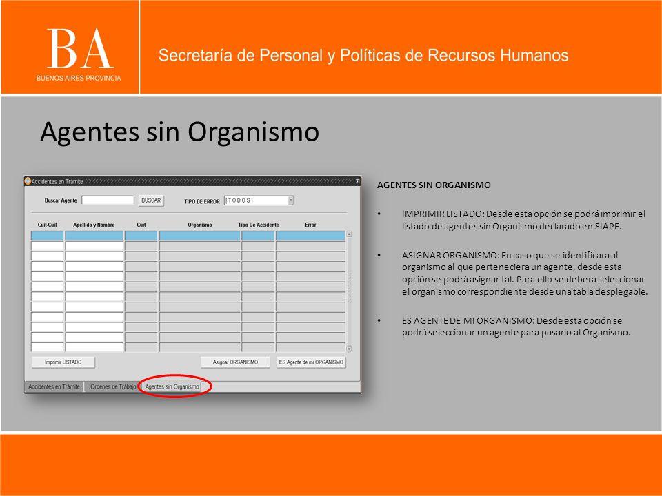 Agentes sin Organismo AGENTES SIN ORGANISMO IMPRIMIR LISTADO: Desde esta opción se podrá imprimir el listado de agentes sin Organismo declarado en SIAPE.