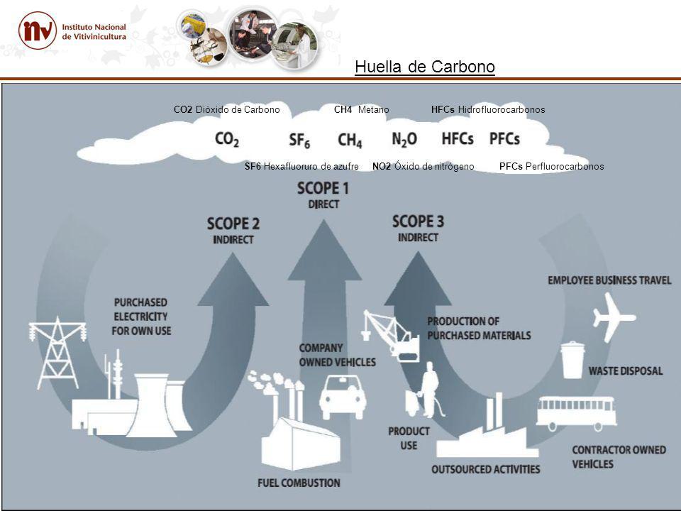 Huella de Carbono CO2 Dióxido de Carbono CH4 Metano HFCs Hidrofluorocarbonos SF6 Hexafluoruro de azufre NO2 Óxido de nitrógeno PFCs Perfluorocarbonos
