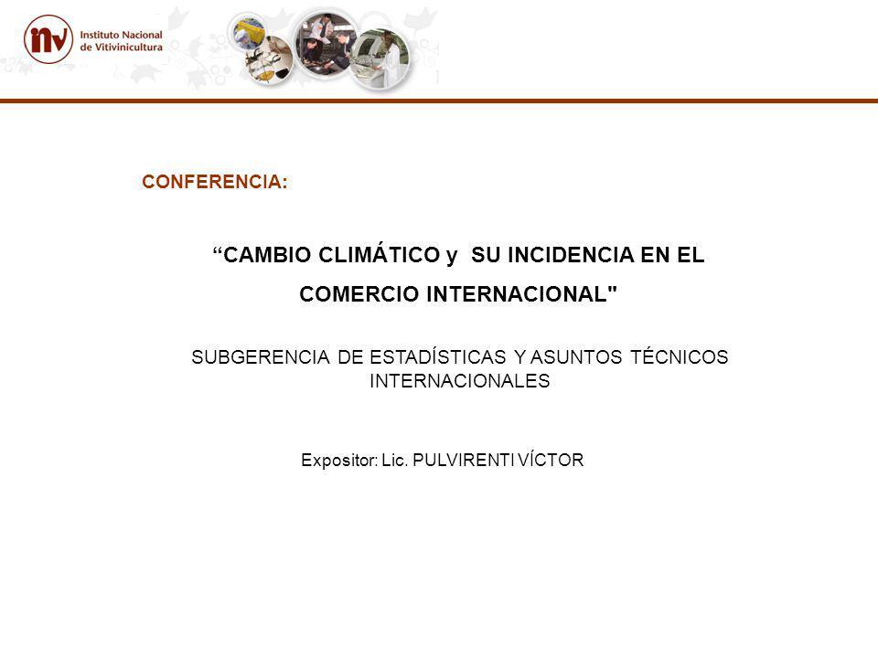 CONFERENCIA: CAMBIO CLIMÁTICO y SU INCIDENCIA EN EL COMERCIO INTERNACIONAL SUBGERENCIA DE ESTADÍSTICAS Y ASUNTOS TÉCNICOS INTERNACIONALES Expositor: Lic.