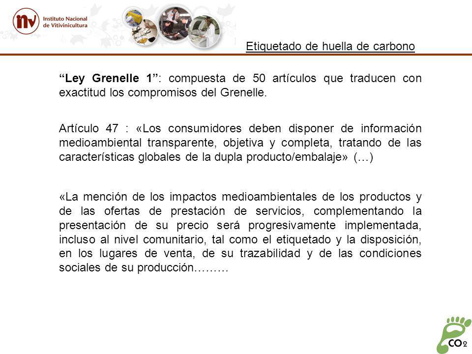 Etiquetado de huella de carbono Ley Grenelle 1: compuesta de 50 artículos que traducen con exactitud los compromisos del Grenelle.