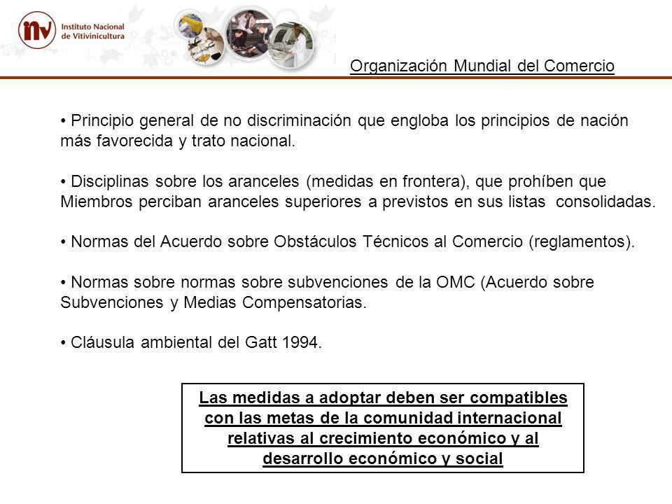 Organización Mundial del Comercio Principio general de no discriminación que engloba los principios de nación más favorecida y trato nacional.