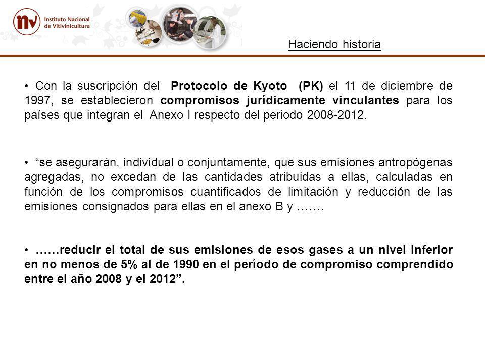 Con la suscripción del Protocolo de Kyoto (PK) el 11 de diciembre de 1997, se establecieron compromisos jurídicamente vinculantes para los países que integran el Anexo I respecto del periodo 2008-2012.