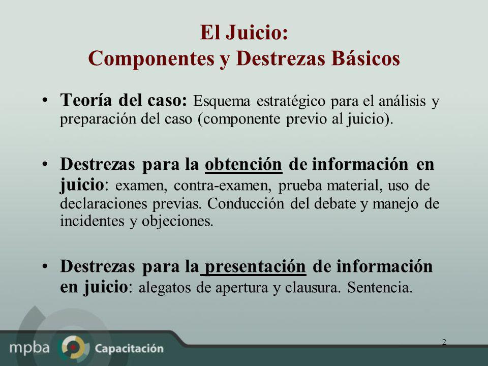 2 El Juicio: Componentes y Destrezas Básicos Teoría del caso: Esquema estratégico para el análisis y preparación del caso (componente previo al juicio