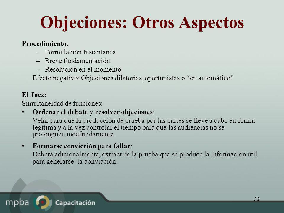 32 Objeciones: Otros Aspectos Procedimiento: –Formulación Instantánea –Breve fundamentación –Resolución en el momento Efecto negativo: Objeciones dila
