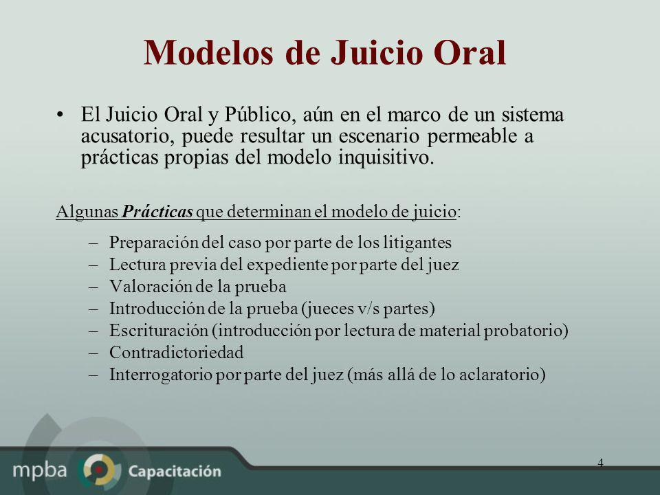 4 Modelos de Juicio Oral El Juicio Oral y Público, aún en el marco de un sistema acusatorio, puede resultar un escenario permeable a prácticas propias