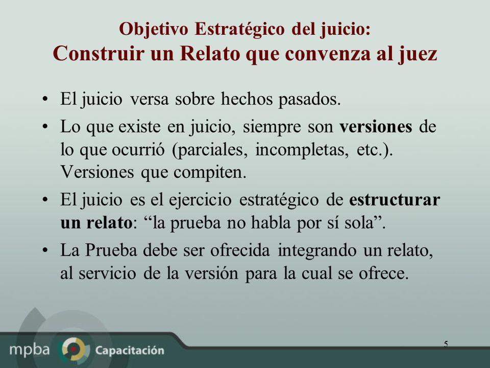 5 Objetivo Estratégico del juicio: Construir un Relato que convenza al juez El juicio versa sobre hechos pasados. Lo que existe en juicio, siempre son
