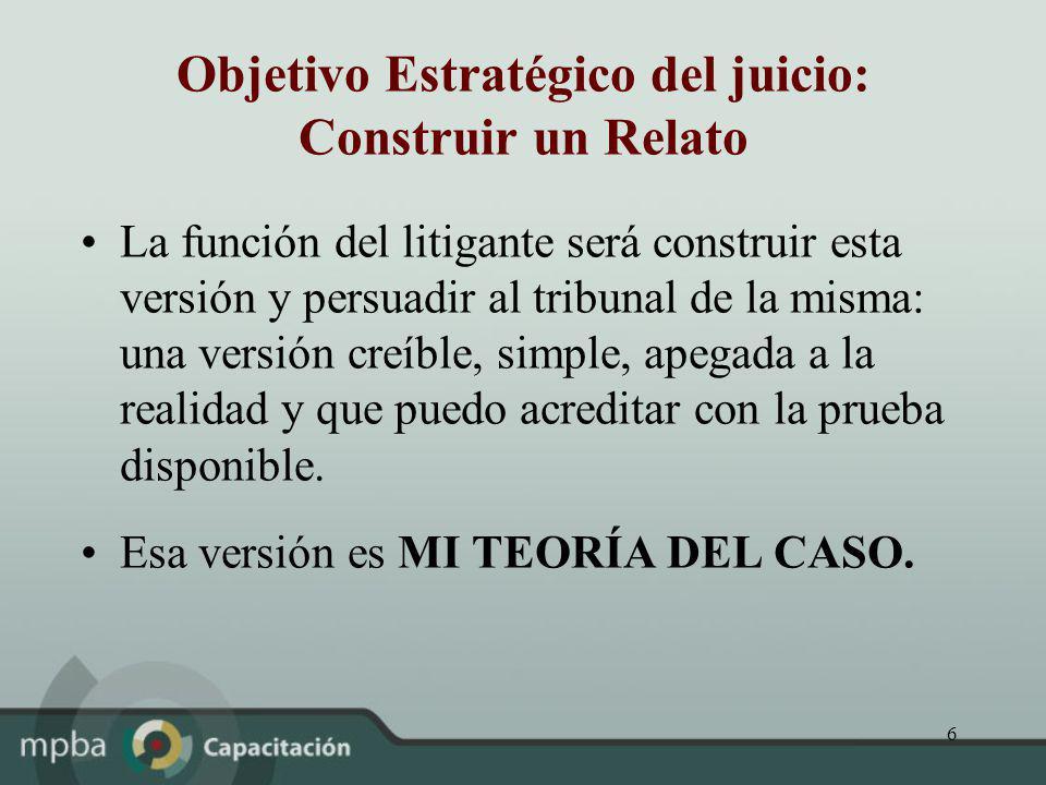 6 Objetivo Estratégico del juicio: Construir un Relato La función del litigante será construir esta versión y persuadir al tribunal de la misma: una v