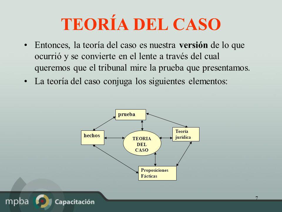 7 TEORÍA DEL CASO Entonces, la teoría del caso es nuestra versión de lo que ocurrió y se convierte en el lente a través del cual queremos que el tribu